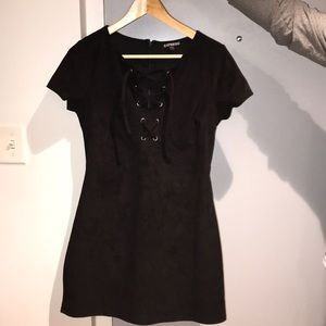 Express faux suede black lace-up dress size 4
